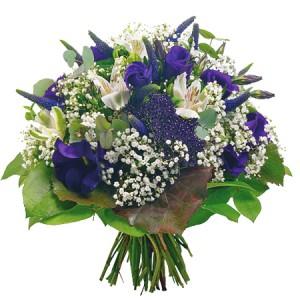 bouquets de saint valentin: bouquet de fleurs bleues et blanches