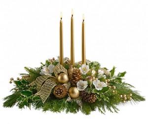 fleurs et plantes de noël: centre de table Noël