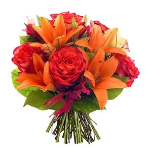 fleurs d' automne: bouquet de lys et roses orangées