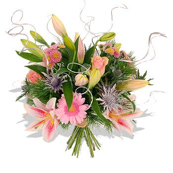 fleurs nouvel an : bouquet rose et argent pour la bonne année