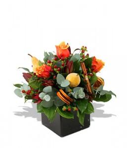 fleurs nouvel an : bouquet de fleurs er fruits