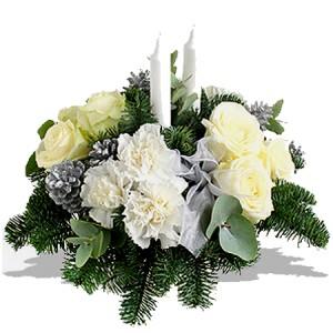 fleurs nouvel an : centre de table en fleurs blanches
