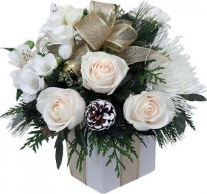 bouquets de noël: bouquet blanc et or