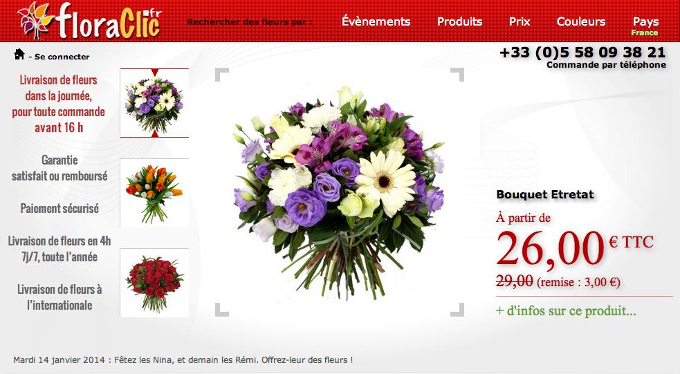 Floraclic livraison fleurs sur internet nouveau site en for Site livraison fleurs