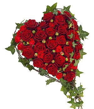 cœur deuil de roses rouges