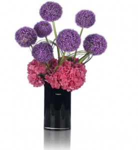 fleurs d'été: hortensia rose et alliums bleus