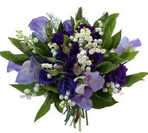muguet du 1er mai: bouquet de muguet et fleurs bleues