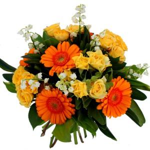 muguet du 1er mai: bouquet de muguet, roses jaunes, germinis orangés