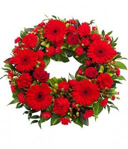 fleurs enterrement: : couronne rouge
