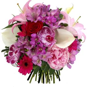bouquet fête des mères lys orchidée arum pivoine