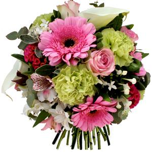 bouquet fête des mères rose pâle vert et blanc
