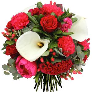 bouquet fête des mères pivoines roses arums célosies œillets