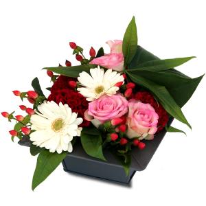 compoisition florale fête des mères rouge rose blanc