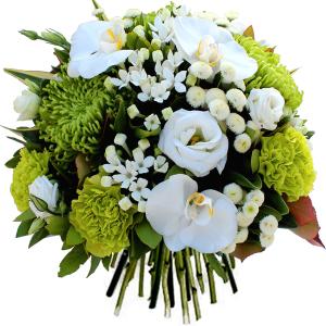 bouquet rond pour anniversaire vert et blanc