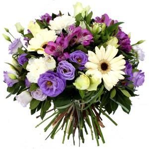 bouquet rond parme et blanc