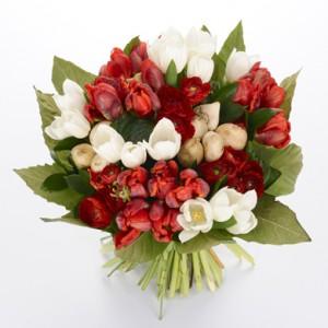 bouquet de fleurs: bouquet rond de tulipes
