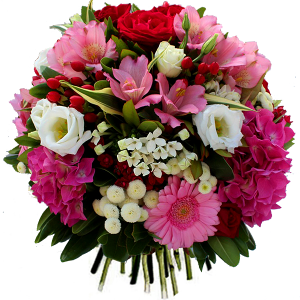 bouquet de fleurs: bouquet rond rose et blanc