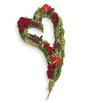 coeur de deuil roses et anthuriums rouges