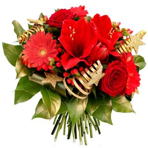 """Noël en fleurs: bouquet de noël rouge """"Etoile de Noël"""""""