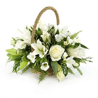 Livraison Fleurs Mariage Paniere Blanche Symphonie