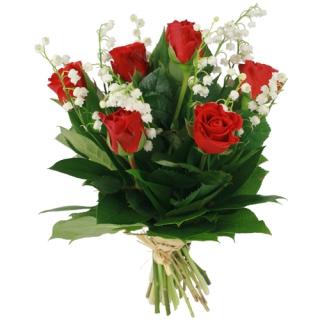 livraison muguet bouquet muguet et roses rouges f tiche. Black Bedroom Furniture Sets. Home Design Ideas