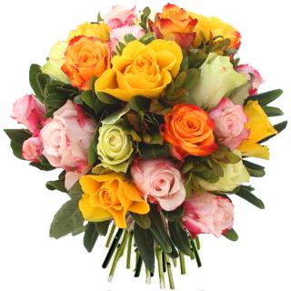 Livraison fleurs bouquet de roses c zanne floraclic for Bouquet de fleurs orange et jaune