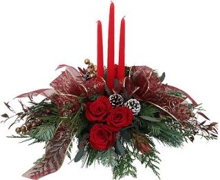 Livraison fleurs de no l centre de table no l avec roses - Centre de table noel ...