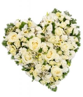 Fleurs Deuil Livraison Coeur De Fleurs Blanches Pour Deces Floraclic