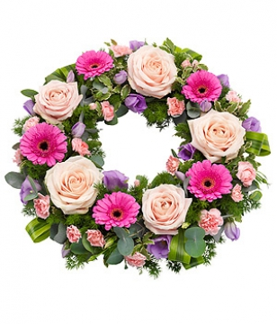 livraison fleurs deuil couronne de fleurs rose et parme. Black Bedroom Furniture Sets. Home Design Ideas