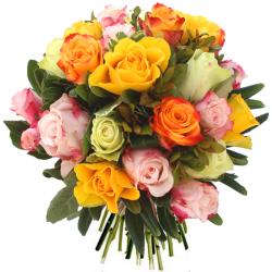 Bouquet de roses rouges blanches roses ou jaunes livr s for Bouquet de fleurs orange et jaune