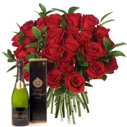 Bouquets de roses rouges « Bouquet Naomi + Champagne »