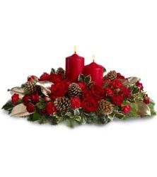 Livraison fleurs de no l centre de table no l avec roses - Couronne centre de table noel ...