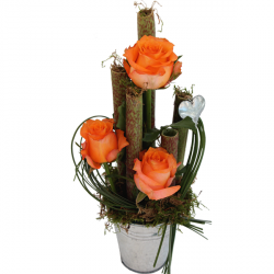 Bouquets de fleurs orange « Composition Bambou Orange »