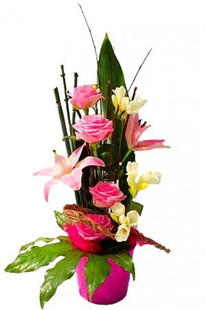 Livraison de fleurs composition de lys et roses br hat - Composition de fleur ...