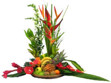 Fleurs exotiques livraison de corbeille fruits et fleurs kimberley floraclic - Composition florale avec fruits legumes ...