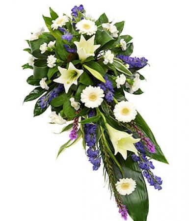 fleurs deuil livraison de gerbe de deuil blanc bleu par floraclic. Black Bedroom Furniture Sets. Home Design Ideas