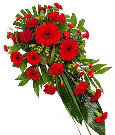Fleurs deuil livraison de gerbe de fleurs rouges par for Service livraison fleurs
