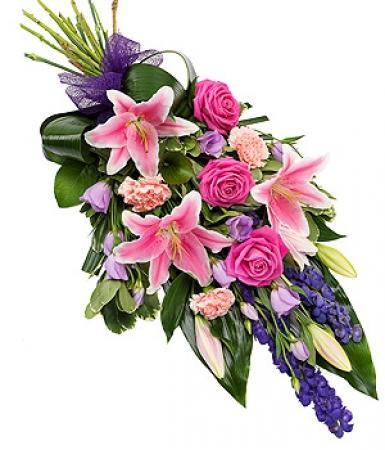 fleurs deuil livraison de gerbe de fleurs violette et rose par floraclic. Black Bedroom Furniture Sets. Home Design Ideas