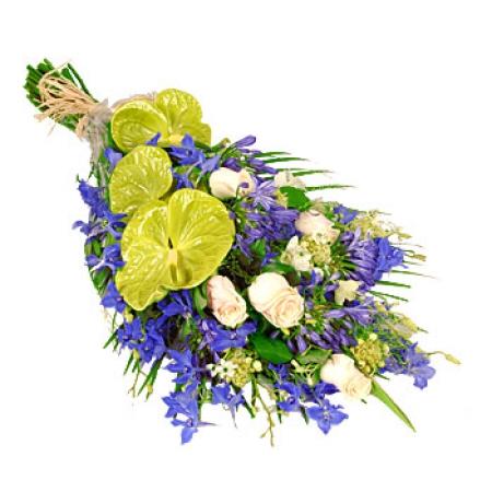 fleurs deuil livraison de la gerbe azur bleu vert blanc. Black Bedroom Furniture Sets. Home Design Ideas