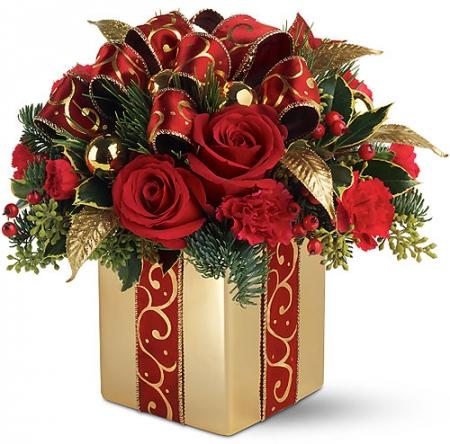livraison fleurs bouquet de no l etincelles rouge et or. Black Bedroom Furniture Sets. Home Design Ideas