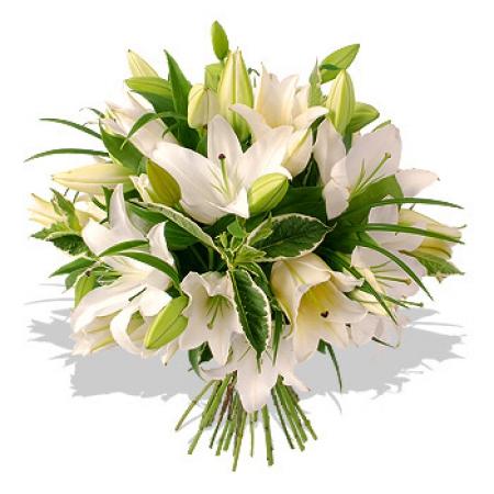 Livraison du bouquet de fleurs mariage lys blancs par for Bouquet de lys