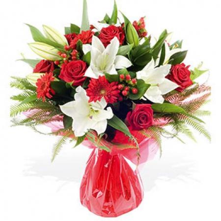 Bouquet De Fleurs Rouge Et Blanche Plante Fleur Maison Retraite