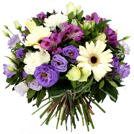 Livraison fleurs bouquet parme et blanc etretat for Bouquet de fleurs rond