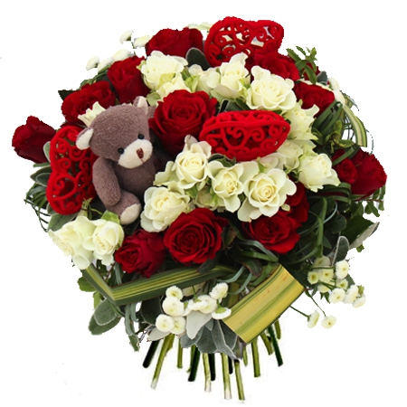 Bouquet Rose Rouge Et Blanche Fleur Rare Vap Vap