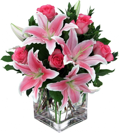 Livraison fleurs bouquet de lys et roses roses joyce for Livraison rose rouge pas cher