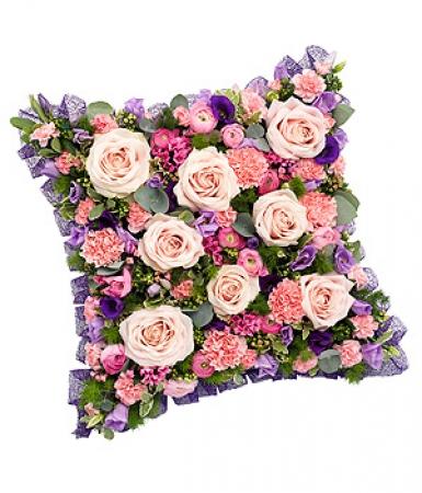 livraison fleurs deuil coussin deuil carr rose et violet floraclic. Black Bedroom Furniture Sets. Home Design Ideas