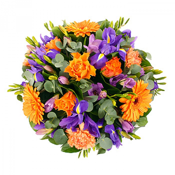 fleurs deuil livraison du coussin de fleurs orange violet par floraclic. Black Bedroom Furniture Sets. Home Design Ideas