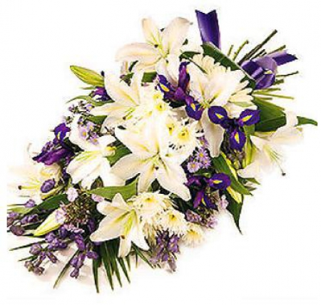 livraison fleurs deuil gerbe de fleurs blanche et violette floraclic. Black Bedroom Furniture Sets. Home Design Ideas