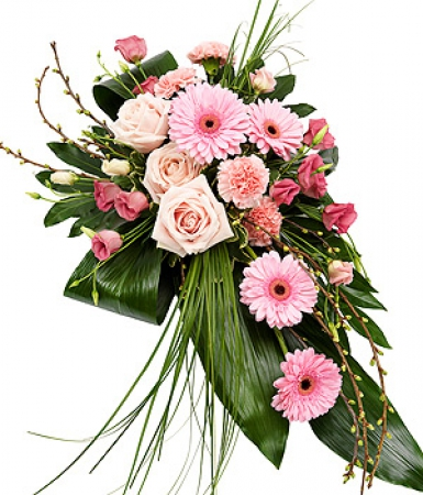 fleurs deuil livraison de la gerbe pour d c s de fleurs roses par floraclic. Black Bedroom Furniture Sets. Home Design Ideas